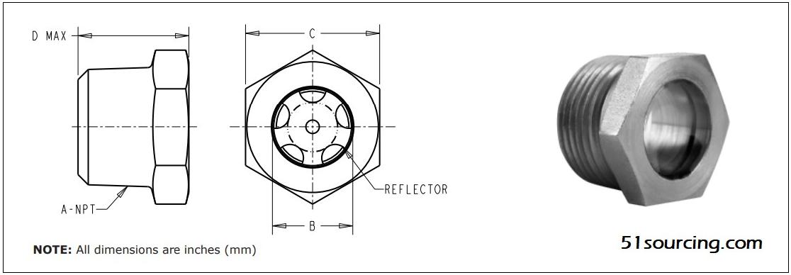 LSP51系列高压油视镜 – NPT管螺纹,LSP51-04油窥镜,LDI Sight Plug,LDI视油镜,LDI油杯,LDI代理商